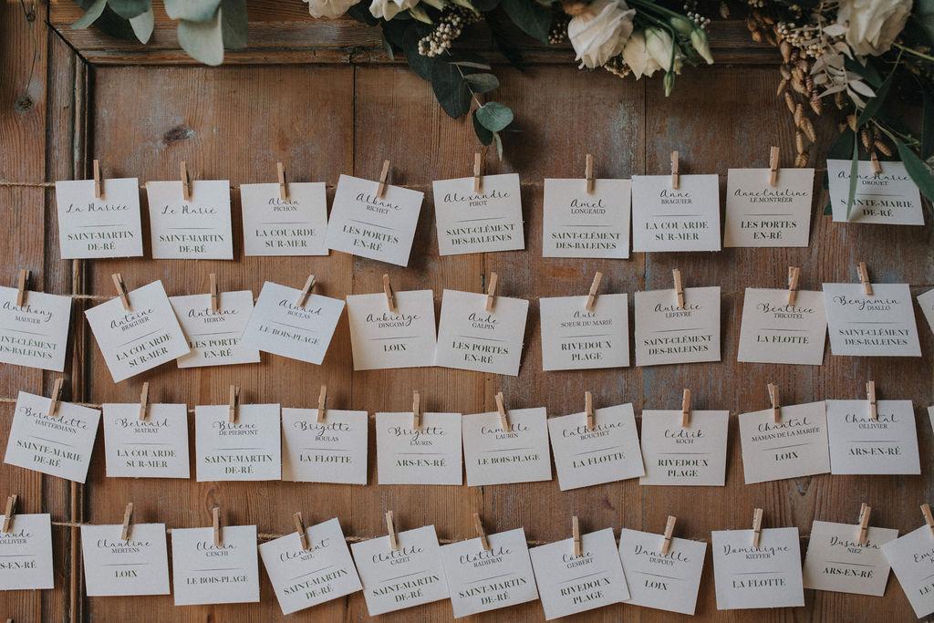 plan de table decoration mariage ile de re